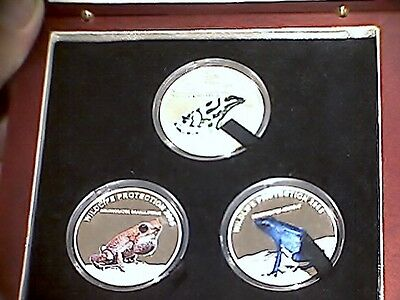 2005 Republic of Liberia WILDLIFE PROTECTION POISON FROGS .925 SILVER #2500 MINT