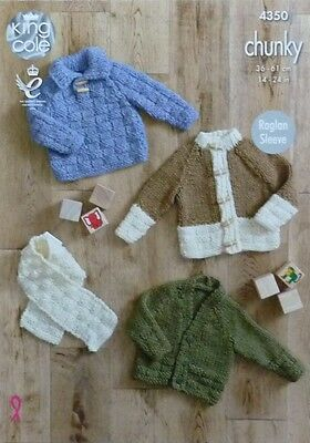KNITTING PATTERN Baby Basketweave Cardigans, Jumper & Scarf Chunky KC 4350
