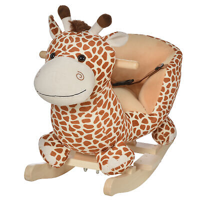 HOMCOM Children Animal Ride on Rocking Horse Walker Toy Seat Rocker w/ Belt Song