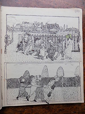 1882 Scrap Book Album Antique Victorian Ink Watercolour Original Art Superb Old
