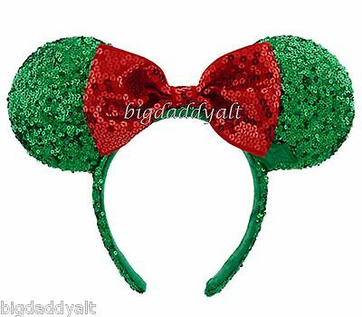 New Disney Christmas Holiday Minnie Mouse Sequin Ear Headband Bow Red Green