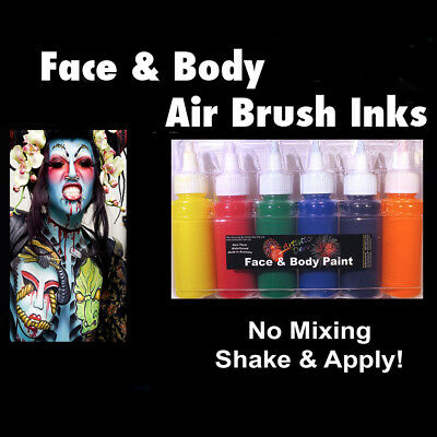 Airbrush Face Paint 6x60ml Face Paint Airbrushing Ink Traditional Set Airbrush