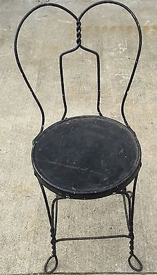 Old Vtg Black Wrought Iron Twisted Metal Original Ice Cream Parlor Seat Chair
