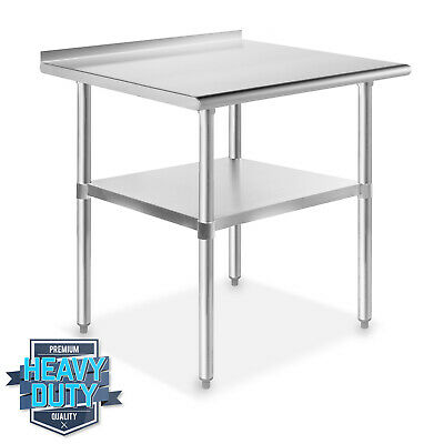 "Stainless Steel Kitchen Restaurant Work Prep Table with Backsplash - 24"" x 30"""