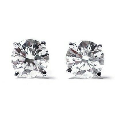 1.00 Carat TW Round Cut Screw Back  Stud Earrings Solid 14k Real White Gold