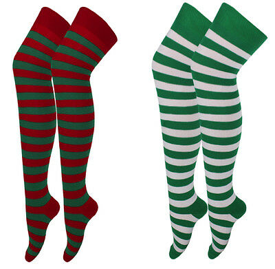Ladies Women Striped  Colorful Long Over The Knee Socks