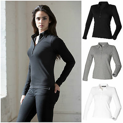 2745c7647f1 Ladies Long Sleeve Polo Shirt Slim Fit Fitted Top 8–18 Stretch Cotton  Elastane