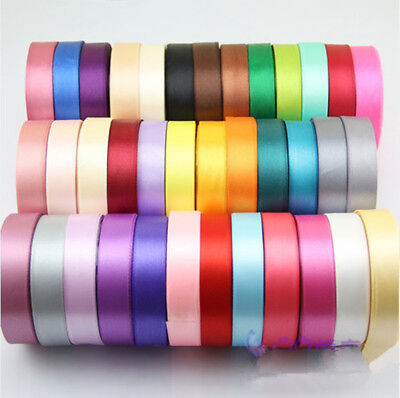 Free Shipping 6 10 15 20 25mm Wide 25 Yards Wedding Craft Bows Satin Ribbon