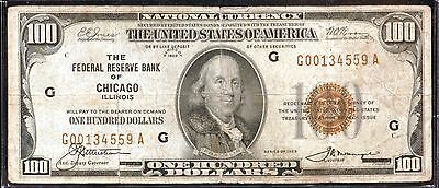 1929 $100 Federal Reserve Bank of Chicago National Currency Note - VG