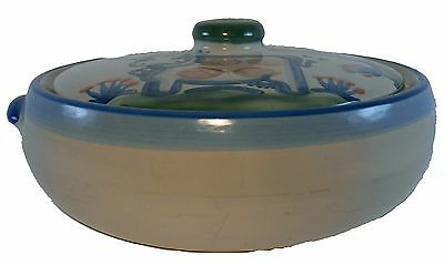HADLEY, M A Pottery COUNTRY SCENE BLUE pattern 3 qt Covered Casserole & Lid