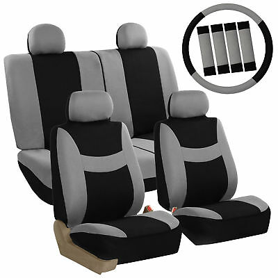 Car Seat Covers Gray Full Set for Auto w/Steering Wheel/Belt Pad/4Head Rest