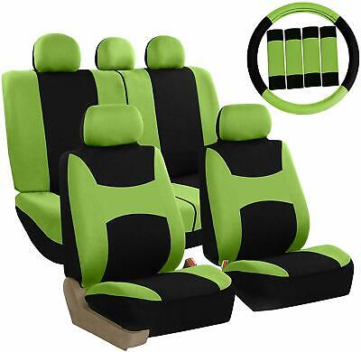Car Seat Covers Green Set for Auto w/Steering Wheel/Belt Pad/Head Rests