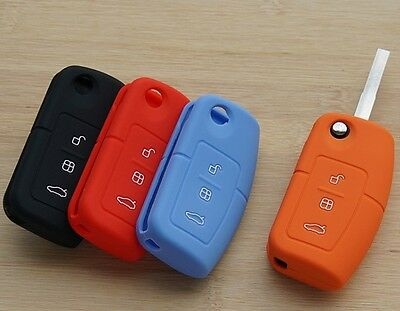 Silicone Protective Key Case Cover 3 Button For Ford Focus Monde *WITH LOGO*