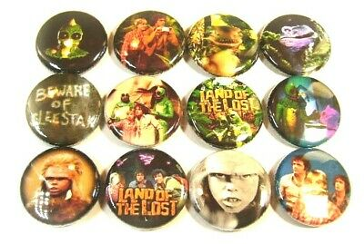 "12 LAND OF THE LOST Retro TV - ONE Inch Buttons 1"" Badges 70s SLEESTAK Dinosaurs"