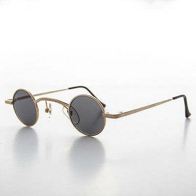 Small Round Gold Steampunk Victorian Goth Spectacle Sunglass NOS - Watson