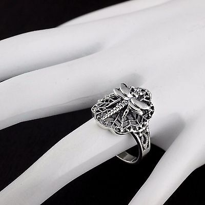 Womens Solid 925 Sterling Silver Vintage Style Adorned Dragonfly Ring
