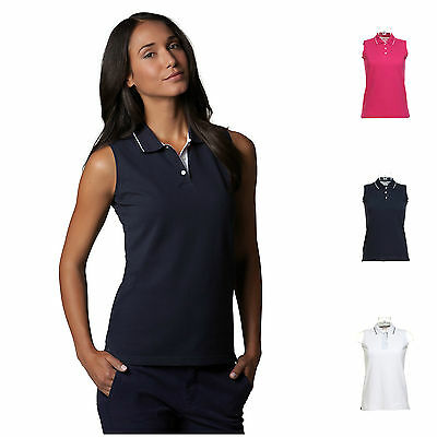 Ladies Womens Sleeveless Golf Polo Shirt with Shaped Fit Free PnP 8 - 20