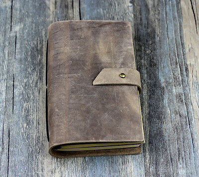 Vintage bucket gift Diaries Journals notebook genuine leather brown D0408