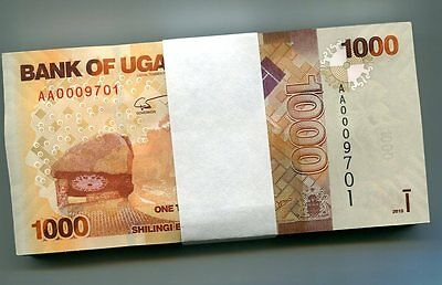 UGANDA 1000 SHILLINGS 2010 P-49 UNC BUNDLE 100 Pieces (PCS)