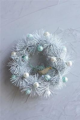 """Christmas Wreath White Twisted Tinsel with Blue White Glass Balls and Bird 12"""""""