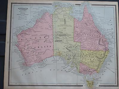 1888 Cram Original  Antique MAP AUSTRALIA TASMANIA 127 Years old