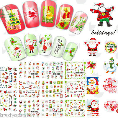 Christmas Nail Art Stickers Water Decals Decoration Stamping Stamps Xmas
