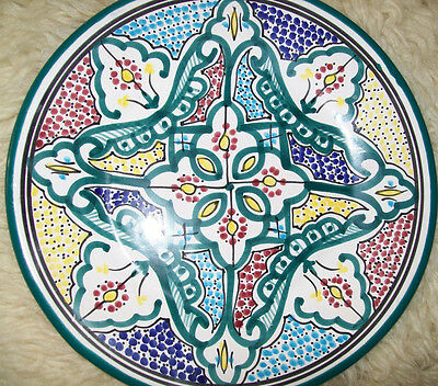 Vintage Moroccan Tunisian Hand Painted Ceramic Pottery Islamic Plate 10.5 inches