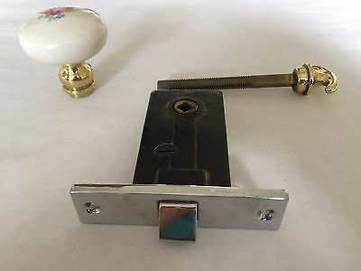 Vintage Chrome Mortise Door set w Porcelain Knob & Brass Handle from late 1930's