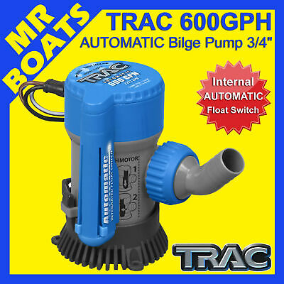TRAC 600GPH BOAT SUBMERSIBLE BILGE PUMP & Automatic Float Switch 600 FREE POST