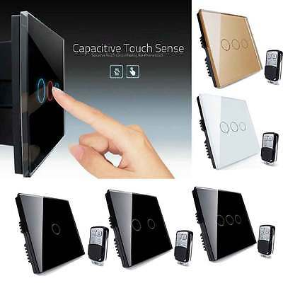 Touch Light 3/2/1 Gang 1 Way Crystal Glass Panel Home Wall Switch Remote Control