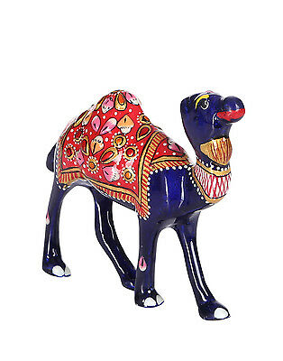 White Metal Camel Figurine Hand Painted Indian Decorative Ornament Statue