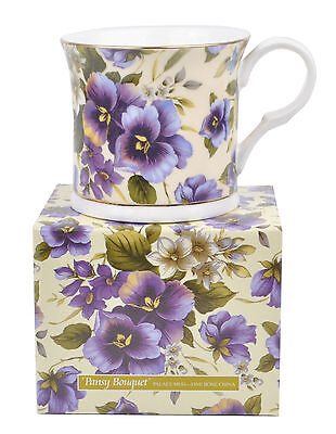 New Pansy Bouquet Floral Fine Bone China Palace Tea Coffee Mug Cup