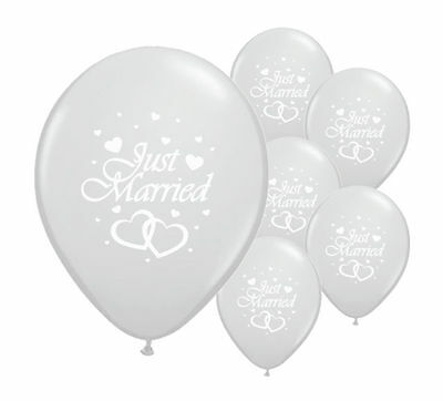 "16 Just Married Silver 12"" Helium Quality Pearlised Wedding Balloons"