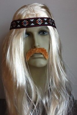 3-In-One Hippy Long Blonde Fancy Dress Wig+ Droop Moustache+Headband