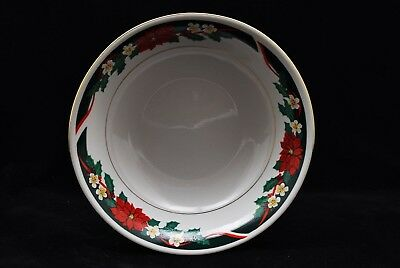 Tienshan Deck the Halls Holiday Christmas Poinsettia Round Serving Bowl 9.5""