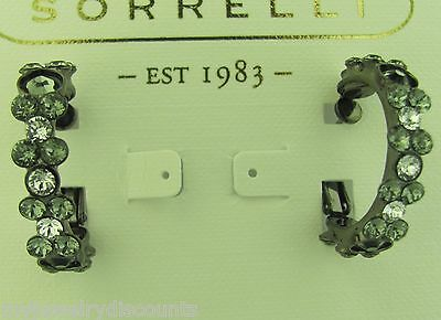 Sorrelli Essential Black Dimond Hoop Earrings EBP15GMBD antique Gun metal tone