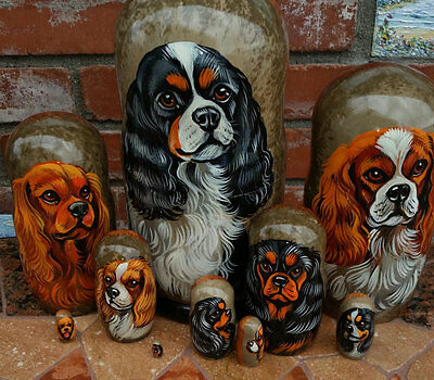 Cavalier King Charles Spaniel on Russian Nesting Dolls. Set of Ten. Tri Color.