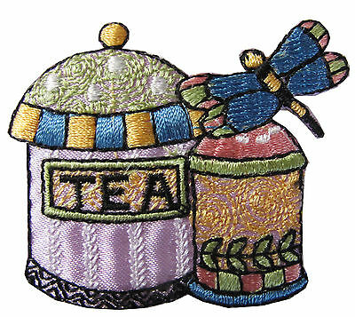 """#4362 2-1/8"""" Teapot and Teacup w/Dragonfly Embroidery Iron On Applique Patch"""