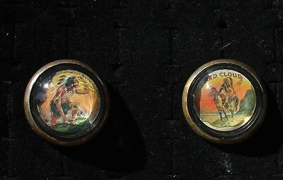 28-70 - Pair vintage bridle rosettes Indians - one is Red Cloud