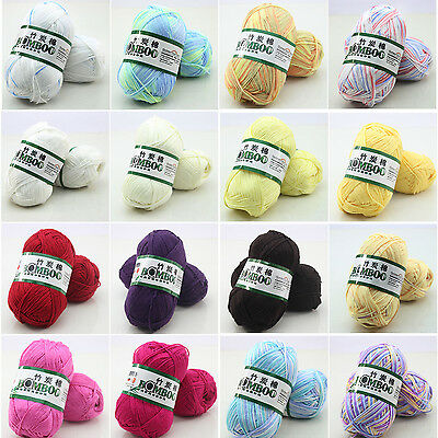 New 50g Super Soft Natural Smooth Bamboo Cotton Knitting Yarn Ball Cole