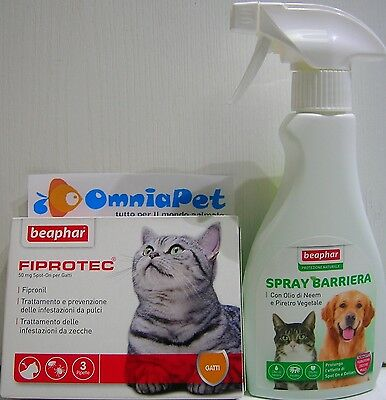 KIT antiparassitarioSPOT ON gatto3pipette+SPRAY antipulci zecche FLEBOTOMI 250ml