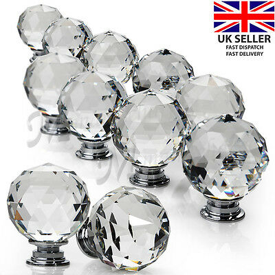 16pcs Door Knob Handles  Clear Crystal Glass Cupboard Drawer Cabinet Kitchen UK
