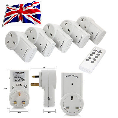 Remote Control Sockets Wireless Switch Home Mains UK Plug AC Power Outlet 1/3/5