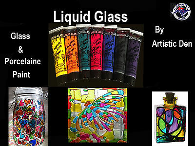 Liquid Glass Paint  Porcelain Paint 7 x 15ml Tile Paint Stained Glass Paint **