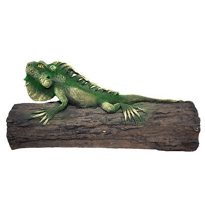 "12"" Iguana Lying on Wood - Green (02)"