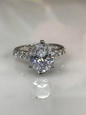 Oval Cut Engagement Wedding Ring 4.50ctw Solid 14K White Gold #4556