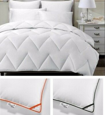 White Chevron Zig Zag Down Alternative Comforter Duvet Insert with Color Border
