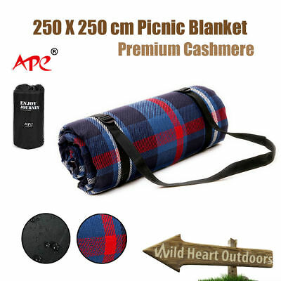 2.5X2.5m Extra Large Picnic Blanket Cashmere Waterproof Rug Camping Outgoing