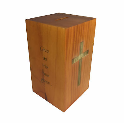 Wood Collection Donation Box Church Offering Coin Collection FundraisinPiggybank