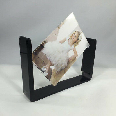 "Acrylic Tabletop 4x6"" Spinner Picture Photo Frame Menu Holder Display Plexiglass"